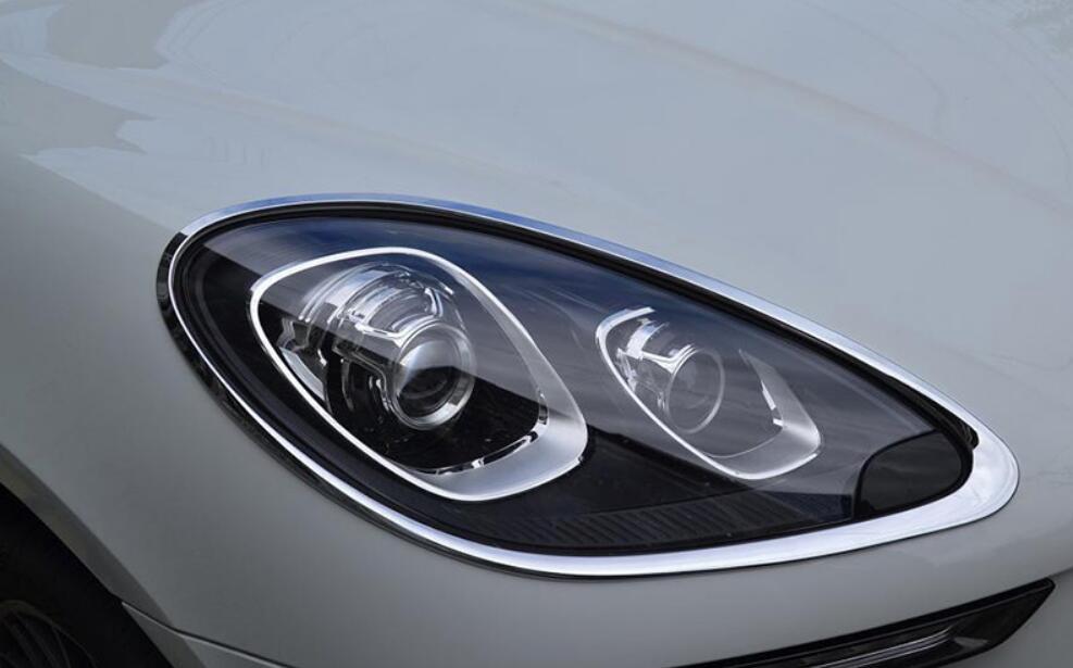JINGHANG ABS Chrome voiture phare avant + feu arrière couvercle de lampe garniture pour Porsche Macan 2014 2015 2016 2017