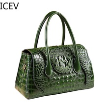 ICEV New European Fashion Designer High Quality Women Leather Handbags Casual Simple Boston Alligator Big Bag Ladies Totes Sac