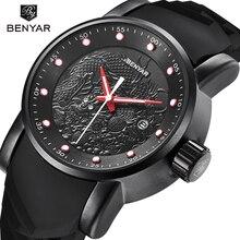 BENYAR люксовый бренд 5115 м скульптура дракона Дата Мужские кварцевые часы 30 м водостойкий силиконовый ремешок модные часы Relogio Masculino