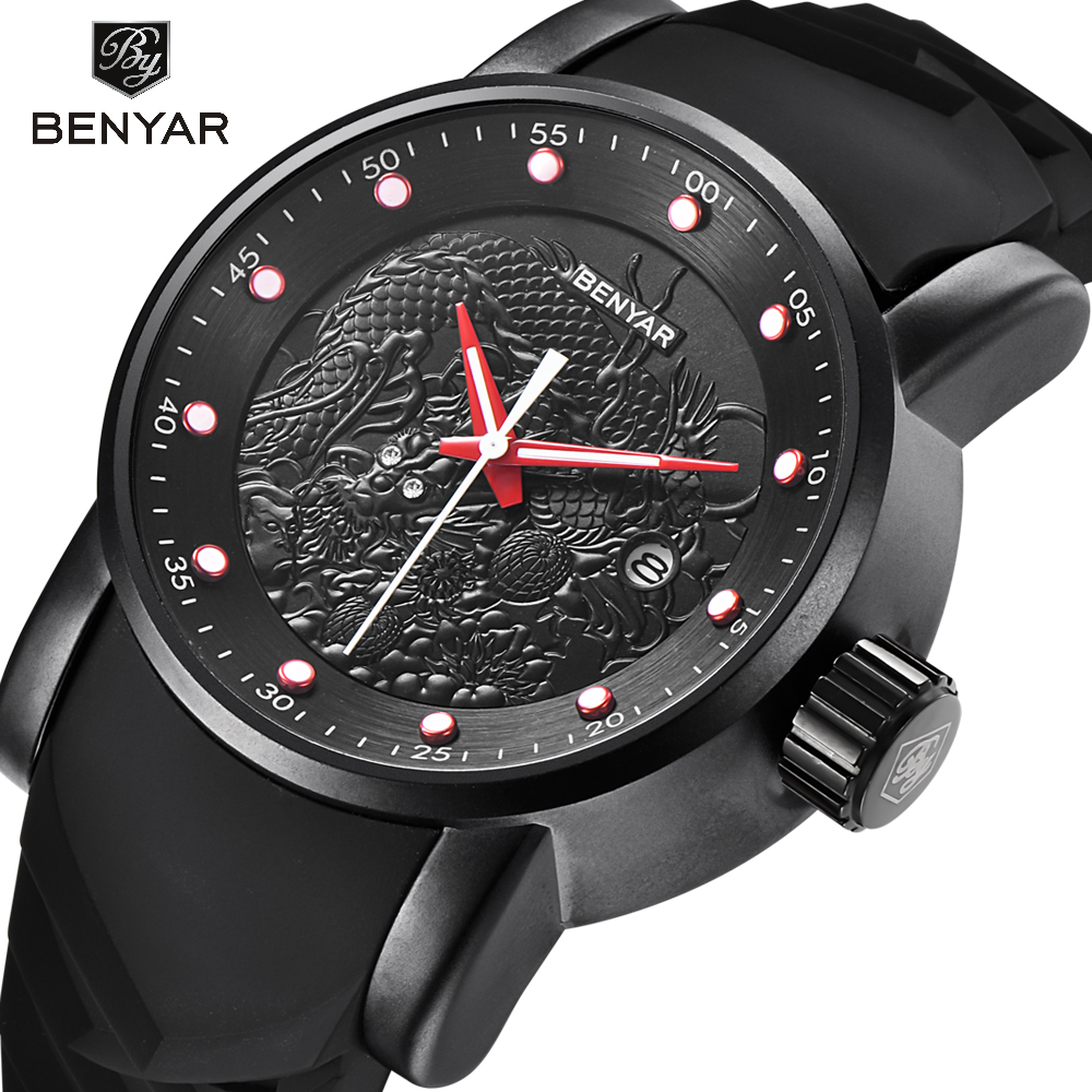 Liberal Benyar Luxus Marke Drachen Skulptur Datum Männer Quarzuhr 30 M Wasserdichte Silikon Band Mode Uhr Relogio Masculino Herrenuhren