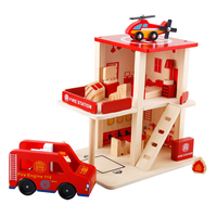 Wooden Doll Houses Series Fire Station Playset (15pcs) with Fire Truck and Accessories, Birthday Gift for Boys and Girls
