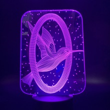 3D Lamp Movie The Hunger Games 3 Mockingjay Logo Color Changing Touch Switch Nightlight for Home Office Deco Led Night Light collins suzanne the hunger games 3 mockingjay original