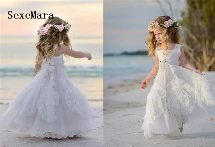 White Flower Girls Dresses For Wedding Square Neck Applique Beads Kids Formal Wear Communion Dress Girls Pageant Gowns