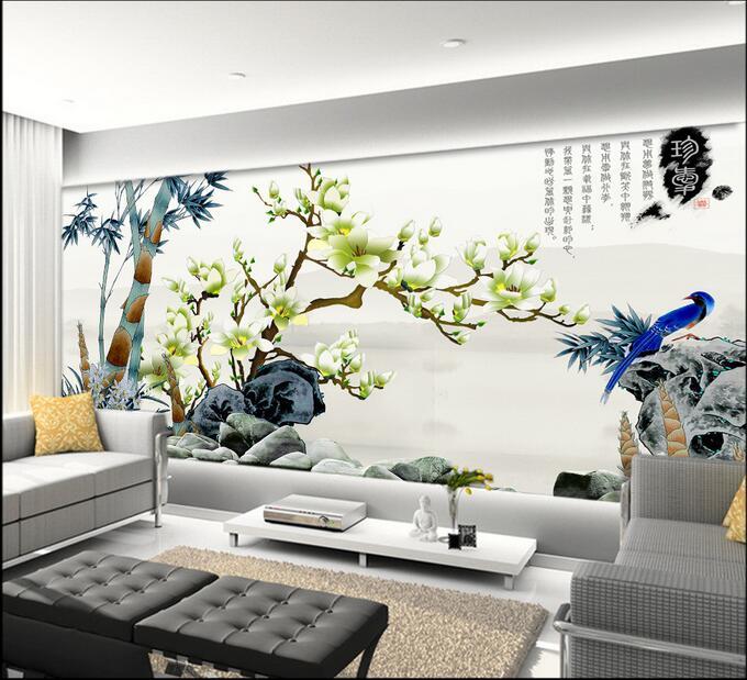 Online get cheap 3d magnolia alibaba group for Carta da parati 3d fiori