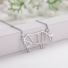 My Shape Geometric Hollow Animal rhinoceros Pendant Stainless Steel Necklace Women Wholesale and Retail