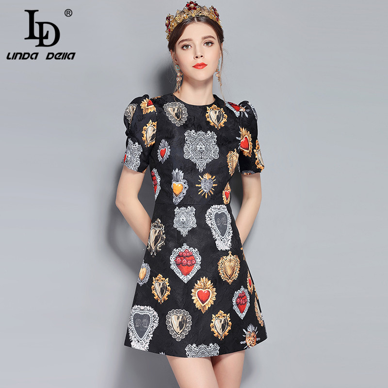LD LINDA DELLA New Fashion Runway Summer Dress Women s Short Sleeve Love Diamond Printed Mini