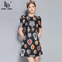LD LINDA DELLA New 2018 Fashion Runway Summer Dress Women's Short Sleeve Love Diamond Printed Mini Vintage Dress High Quality