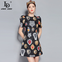 LD LINDA DELLA New Fashion Runway Summer Dress Women's Short Sleeve Love Diamond Printed Mini Vintage Dress High Quality