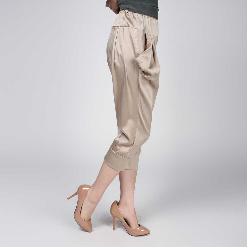 100% Silk Harem Pants Pure Silk Fabric Women Summer Pants Plus Size Comfortable Casual Style