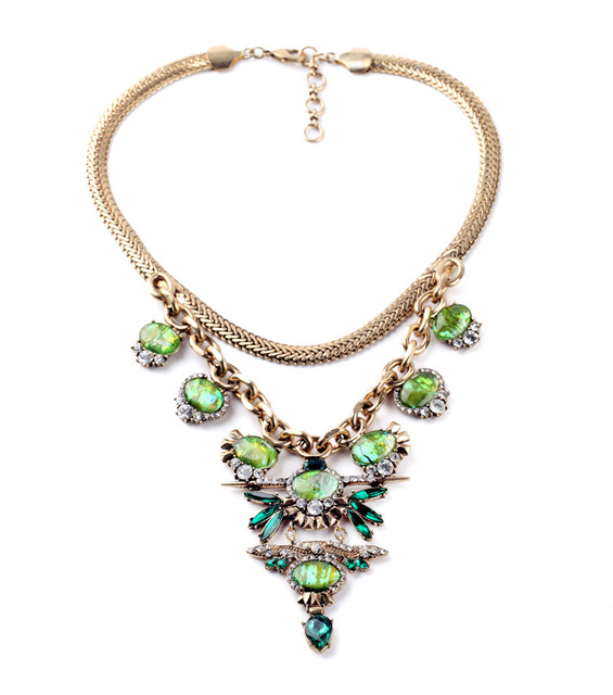 Top Statement Vintage Fashion Chokers Green Yellow Epoxy Enamel Gems Necklace Chokers Party Jewelry
