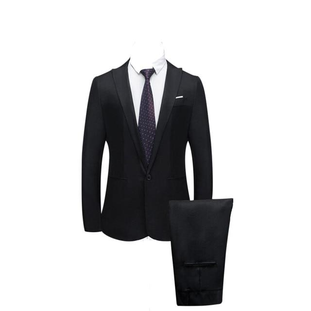 7ea278abaa JAYCOSIN Jaqueta + Calça 2019 cor Pura dos homens terno Slim Fit ternos de  vestido casamento Homem Negócios lazer da moda Dos Homens blazers casaco