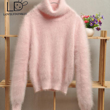 LOVELYDONKEY mink cashmere sweater girls cashmere pullovers knitted mink cashmere jacket free shippingM701