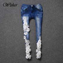 2016 Fashion Brand Design 3D White Flowers Crochet Applique Jeans Skinny Jeans For Women Elastic Denim Pants Jeans Femme