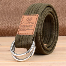 HUOBAO New Unisex Double Ring Buckle Military Belt  Canvas Army Belts Men Womens Casual Cowboy Pants Ceinture