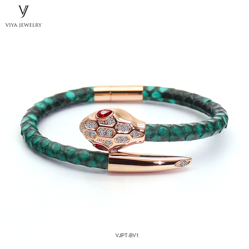 VJPT-BV1---Python leather snake bracelet ,fashion snake head Python leather bracelet,charms snake bracelet women men (43)