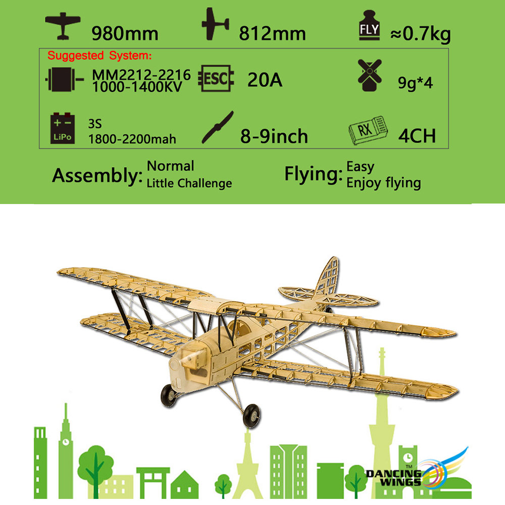 RC Plane Dancing Wings S1901 Balsa Wood Airplane Tiger Moth Remote Control Biplane Unassembled KIT Version