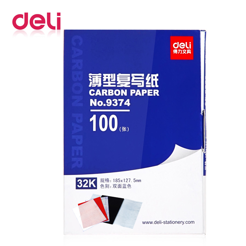 Deli 1 Pack 100 Sheets Blue Color 32K Thin Carbon Paper Include 3 Red Ones 32k 127.5x185mm Accounting Supplies 9374
