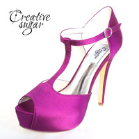 Creativesugar Woman platform 5'' high heel T strap satin dress shoes evening party wedding stiletto open toe white ivory purple
