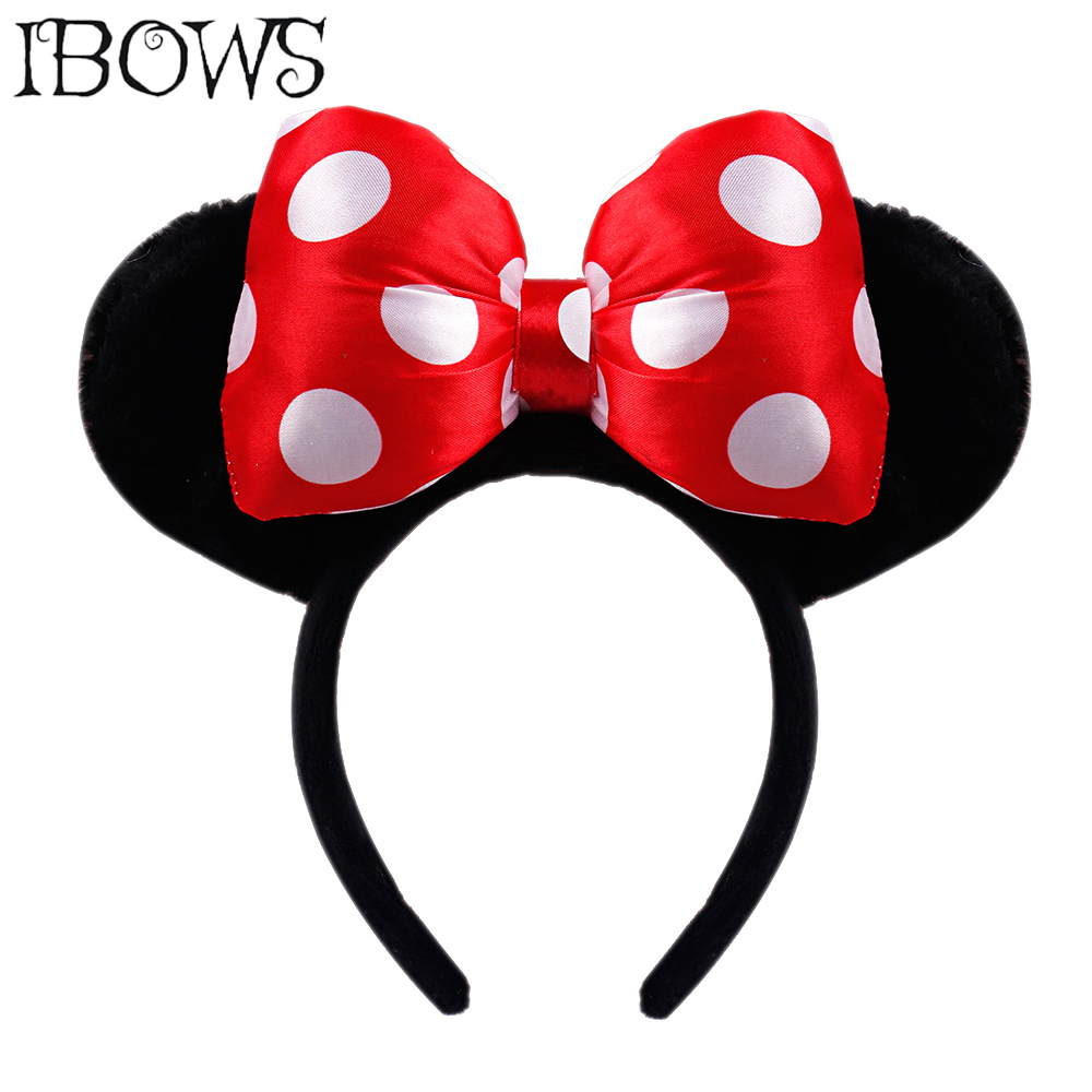 IBOWS Hair Accessories Black Ears Headbands Handmade Dots Hair Bow Hairbands For Girls Plush Hair Hoop Photography Prop   Headwear