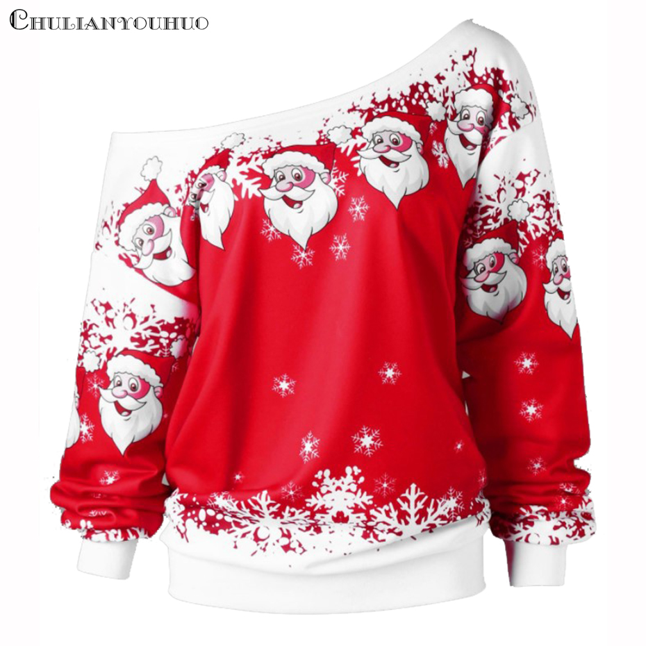 Christmas Sweatshirt Off Shoulder Top Clothing Womens 2019 New Year Dress Print Santa Cute Funny Autumn Winter Women Pullover (2)