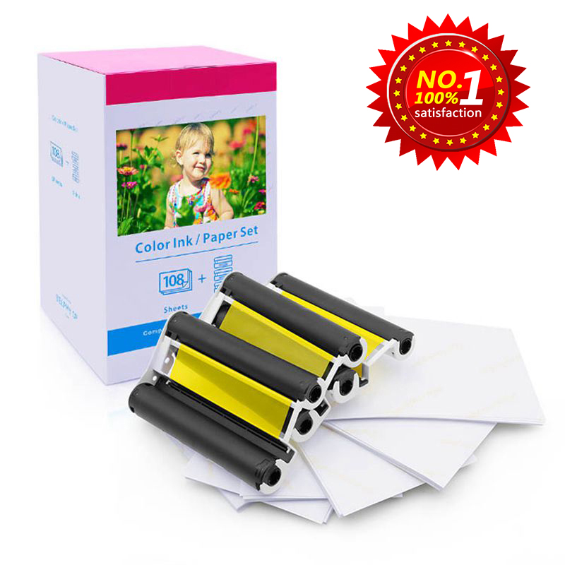 Photo Paper KP-108IN 3 Ink Cassette and 108 Paper Sheets 100x148mm 6'' Compatible for Canon Selphy Printers CP780 CP740 CP1000