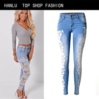HANLU Europe summer Fashion Lace Women Jeans Elasticity low waist pencil pants Embroidery patch hollow design Skinny Jeans
