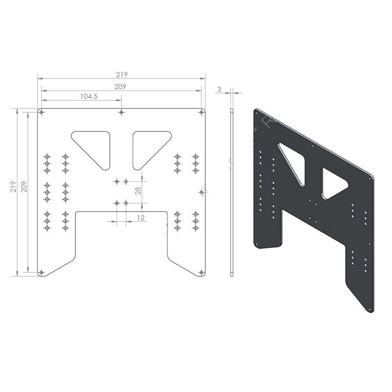 funssor Y-Carriage upgrade alloy  plate Anet A8 A6 3D Printer Upgrade Y Carriage Anodized Aluminum Plate title=