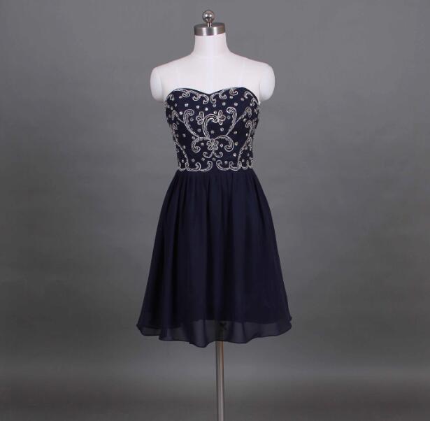 Navy blue chiffon short   bridesmaid     dresses   tea length embroidery bride party   dresses   vestido azul marino d64