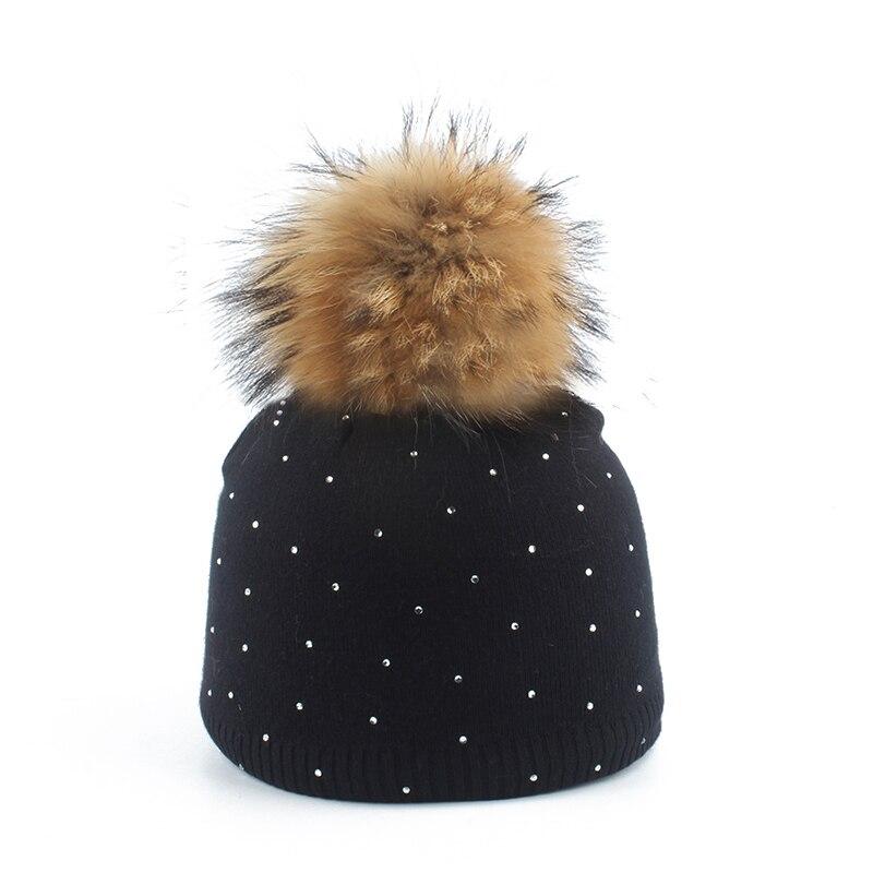 Winter Hats Beanies-Cap Pompom Rhinestone Knitted Wool Real-Fur Girls Baby Children Skullies