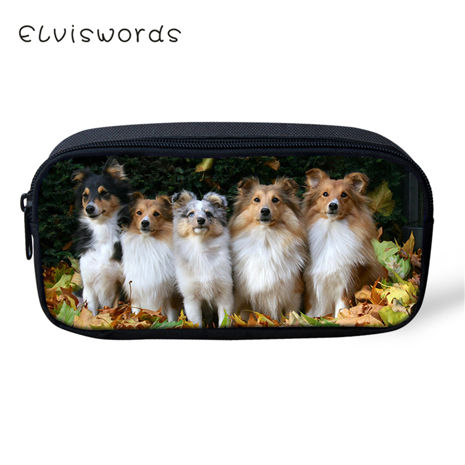 ELVISWORDS Kids Pencil Case Cute Animal Students Stationery Box Sheltlandog Sheep Pattern School Pen Bags Women 39 s Beauticians in Cosmetic Bags amp Cases from Luggage amp Bags