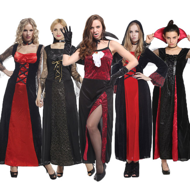 Umorden Purim Party Halloween Vampire Costumes for Women Adult Sexy Noble  Elegant Vampire Costume Cosplay Dress Robe Collection 364f5a00e3ab