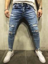 7d88ae2a2ae0 Hip hop clothing designer pants blue/black destroyed mens slim denim  straight biker skinny jeans for men ripped