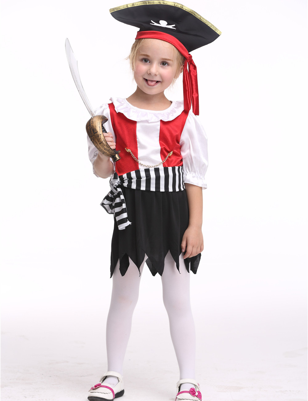 Girls Pirate Costume Halloween Costume For Kids Stage & Dance Wear Toddler Pirate Short Skirt Party Cosplay