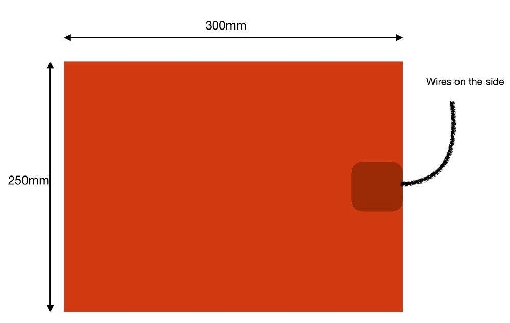 Flessibile della gomma di silicone riscaldatore 250x300 millimetri 220 V 300 W riscaldatore di olio di silicone rilievo di riscaldamento industriale heaer 3d stampante