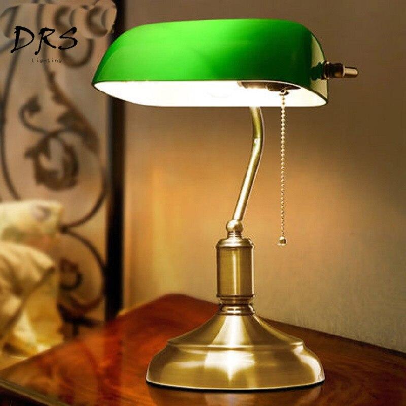 Antyczny brąz biurko u nas państwo lampy tradycyjne lampy stołowe lampka do czytania zielony szkło regulowany zadanie lampy biurko mosiądz oświetlenie sypialni w Lampy na biurko od Lampy i oświetlenie na DRS Lighting Store