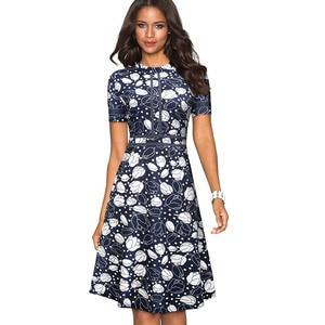 Image 5 - Nice forever Vintage Retro ลูกไม้ Patchwork O คอหญิง vestidos สำนักงานธุรกิจปาร์ตี้ Flare A Line ชุดสตรี A140