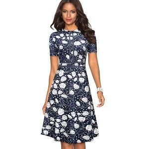 Image 5 - 素敵な永遠のヴィンテージレトロなレースパッチワーク O ネック女性 vestidos ビジネスオフィスパーティーフレア A ライン女性のドレス A140