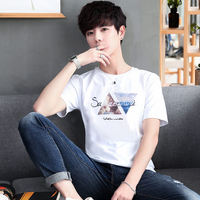 Men's cotton T shirt fashion casual outdoor sports style 2019 explosion models Hot sale style classic #1749
