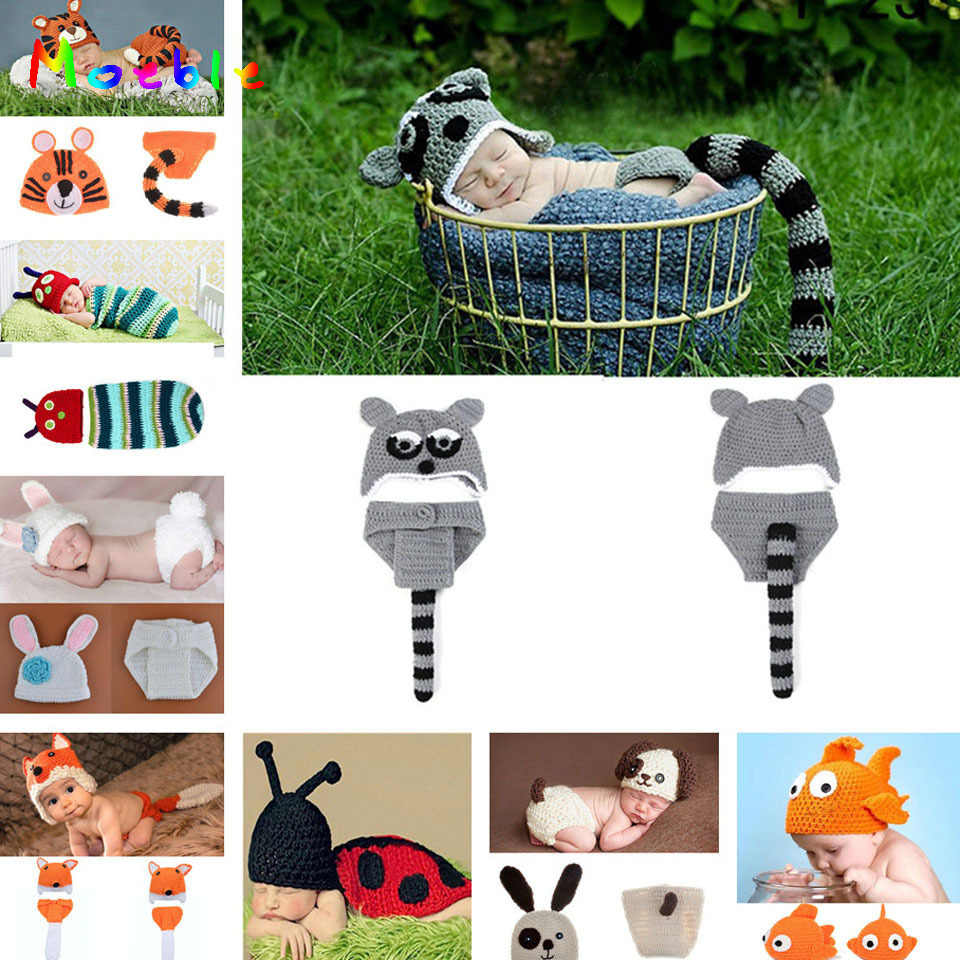 65046ddd776 Lovely Animal Designs Crochet Baby Hat and Pants Set Infant Boy Photography  Props Kids Toddler Knitted