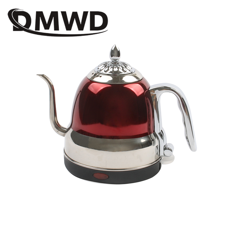 DMWD Long Spout Mouth Electric Kettle Hot Water Boiler Quick Heating Tea Pot 304 Stainless Steel Drip Boiling Coffee Pot 1.2L EU dmwd long spout mouth electric kettle hot water boiler quick heating tea pot 304 stainless steel drip boiling coffee pot 1 2l eu