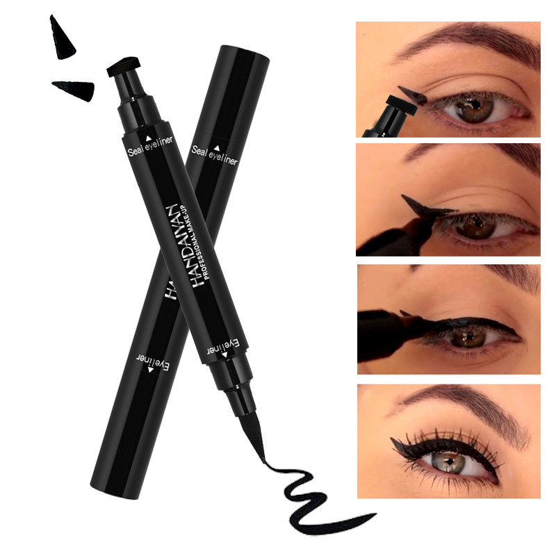 Hearty Black Double-headed Eyeliner Pencil With Miss Stamp Seal Maquiagem Waterproof Wing Eye Liner Cosmetics Unequal In Performance Beauty Essentials