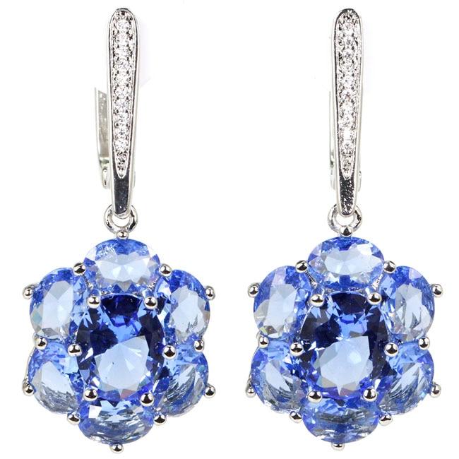 Gorgeous Rich Blue Violet Tanzanite, CZ Woman's Wedding 925 Silver Dangle Earrings 38x17mm