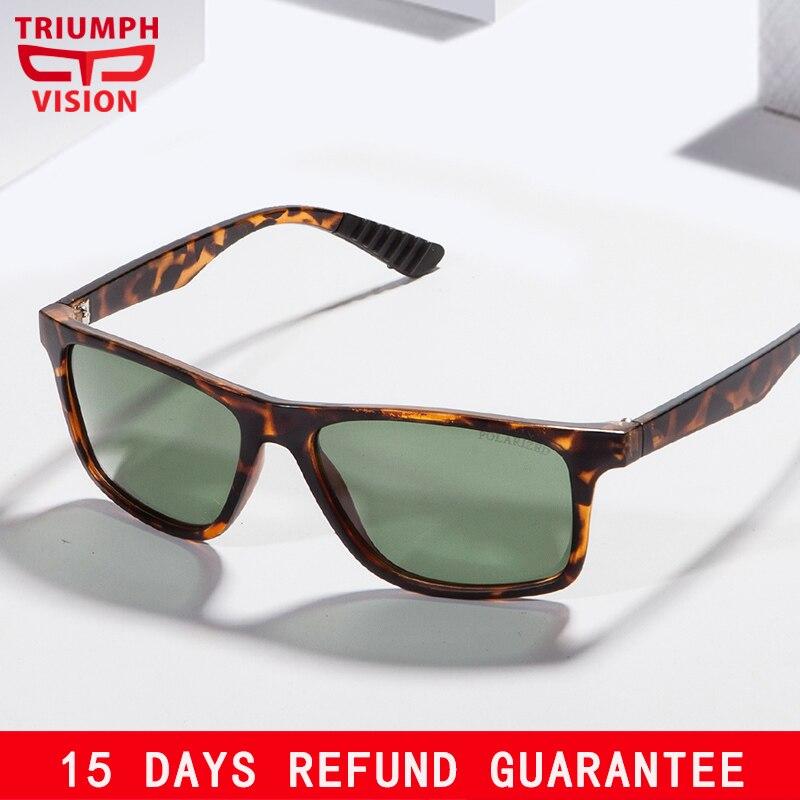 TRIUMPH VISÃO Leopardo Quadrado Óculos De Sol Masculino HD Polarized Lens  Verde Shades Oculos Homens UV400 6bbcb958fd