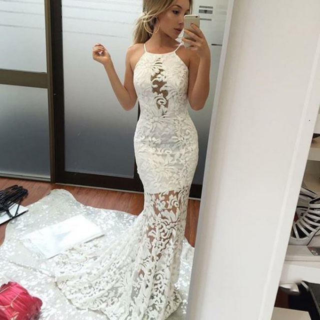 15be38caa2c1 Semi Sheer Beach Lace Wedding Gown 2018 Sexy Halter Off Shoulder Long  Mermaid Dress For Bridal Fashion Backless Wedding Gowns