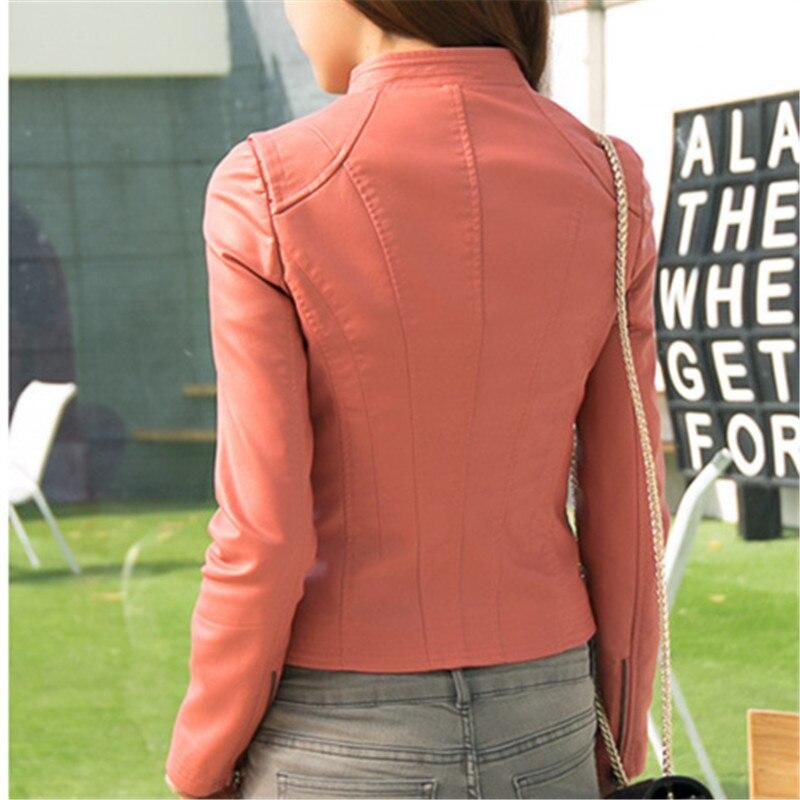 Parcs Moulante Nouvelles Coréenne Moto Bomber Mince Femmes 2018 Streetwear Noir Élégant Pu Veste Style 35RLq4Aj