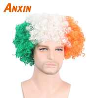 Anxin Afro Clown perruques cheveux synthétiques coupe de Football Fans fête perruque Halloween Bob Cosplay perruques hommes femmes Football monde Fans cheveux