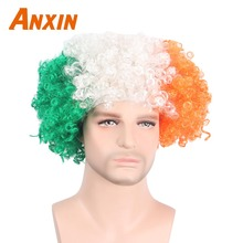 Anxin Afro Clown Wigs Synthetic Hair  Football Cup Fans Party wig Halloween Bob Cosplay Men Women Soccer World Hairs