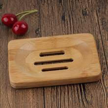 Natural Wooden Bamboo Soap Dish Wooden Soap Tray Holder Storage Soap Rack Plate Box Container for Bath Shower Plate Bathroom(China)