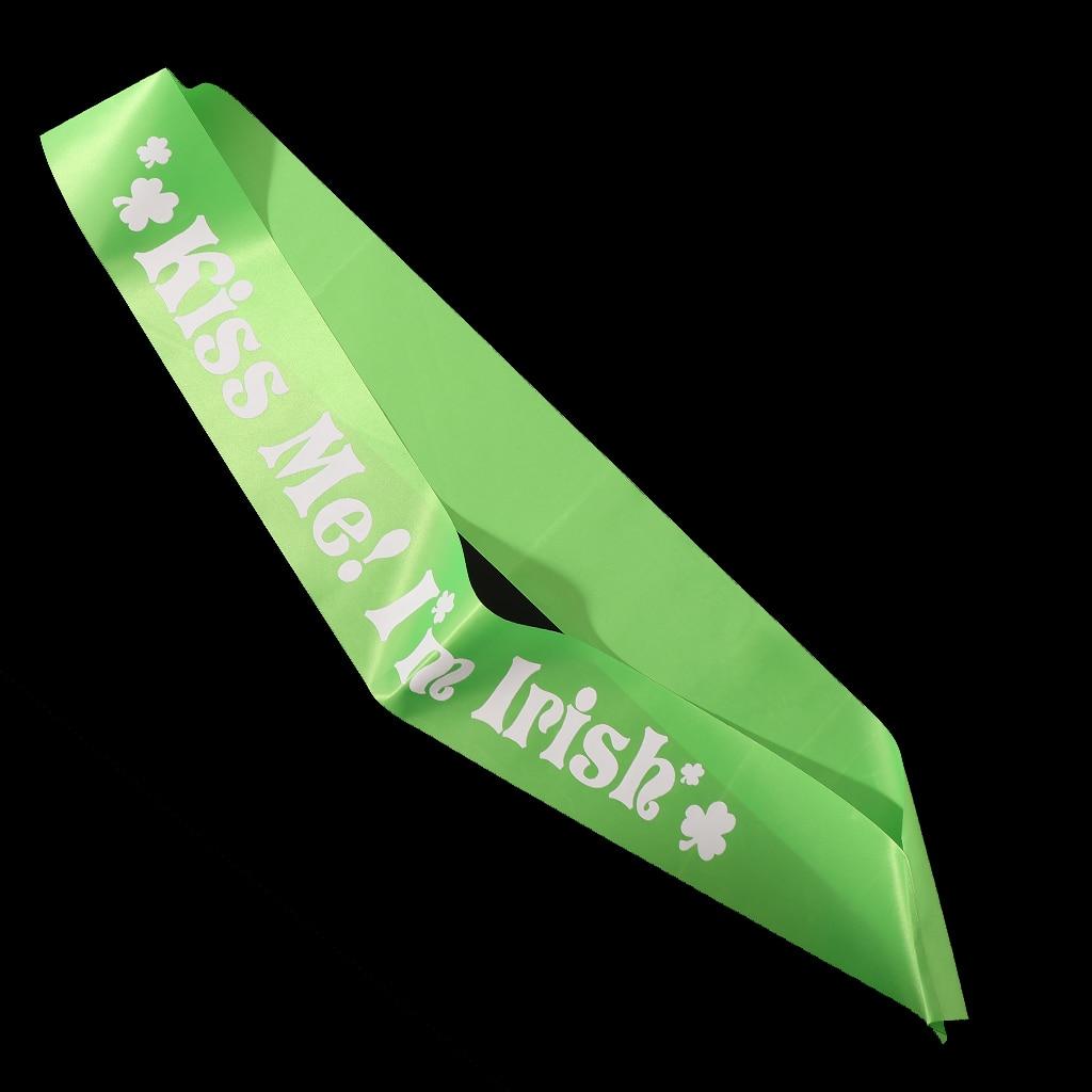 Happy St Patricks Day Kiss Me Satin Sash Ribbon Party Accessories