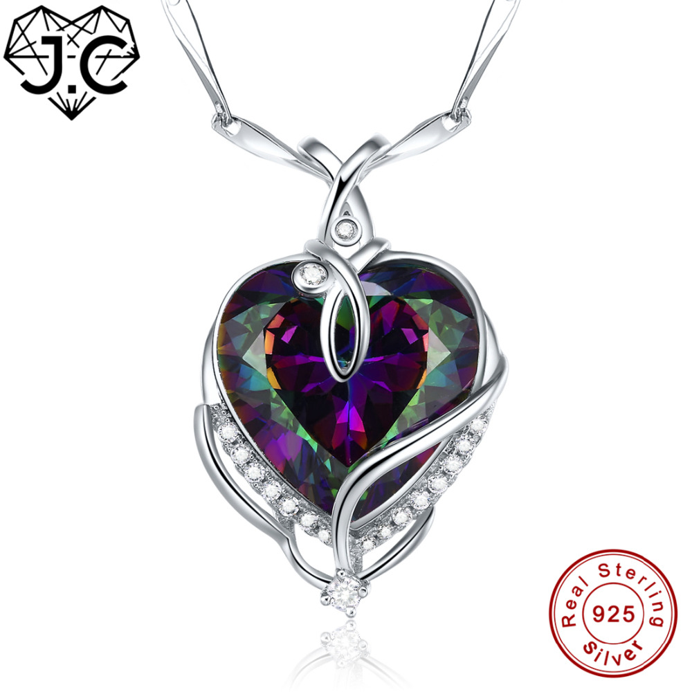 for Women Excellent Heart Shaped Necklace Brilliant Rainbow & White Topaz Solid 925 Sterling Silver Pendant Fine Jewelry